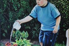 """Titre: «Le Petit Jardinier» Huile sur toile 14""""x 18"""" VENDUE"""
